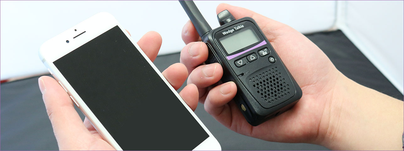 スマートフォンと大きさを比較したウェッジトーキー
